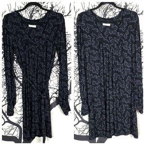 TOPSHOP Long Sleeve Mini Dress Black & Blue Tie
